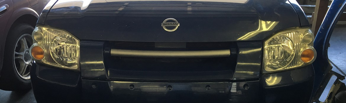 Before and after the polish or cleaning of headlight lens by Tune Tech Fairview Boise